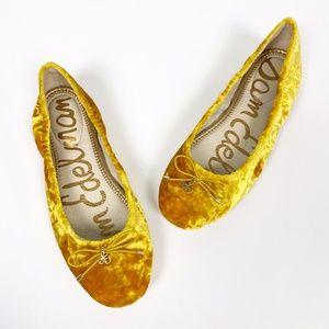 Sam Edelman yellow velvet Felicia ballet shoes 7